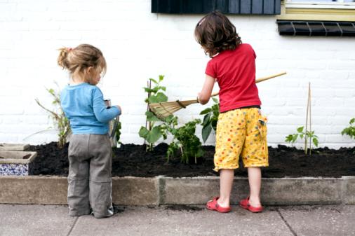 Family in garden